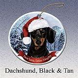 Dachshund (Black and Tan) Dog Santa Hat Christmas Ornament Porcelain China U.S.A. Gift