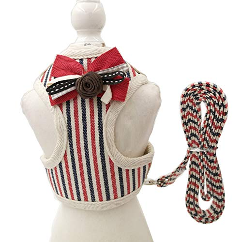 Cute Small Pet Dog Harness Leash Pet Vest Harness Leash Cat Collars Clothes for Dogs and Cats Vest XL,Red Stripe,M ()
