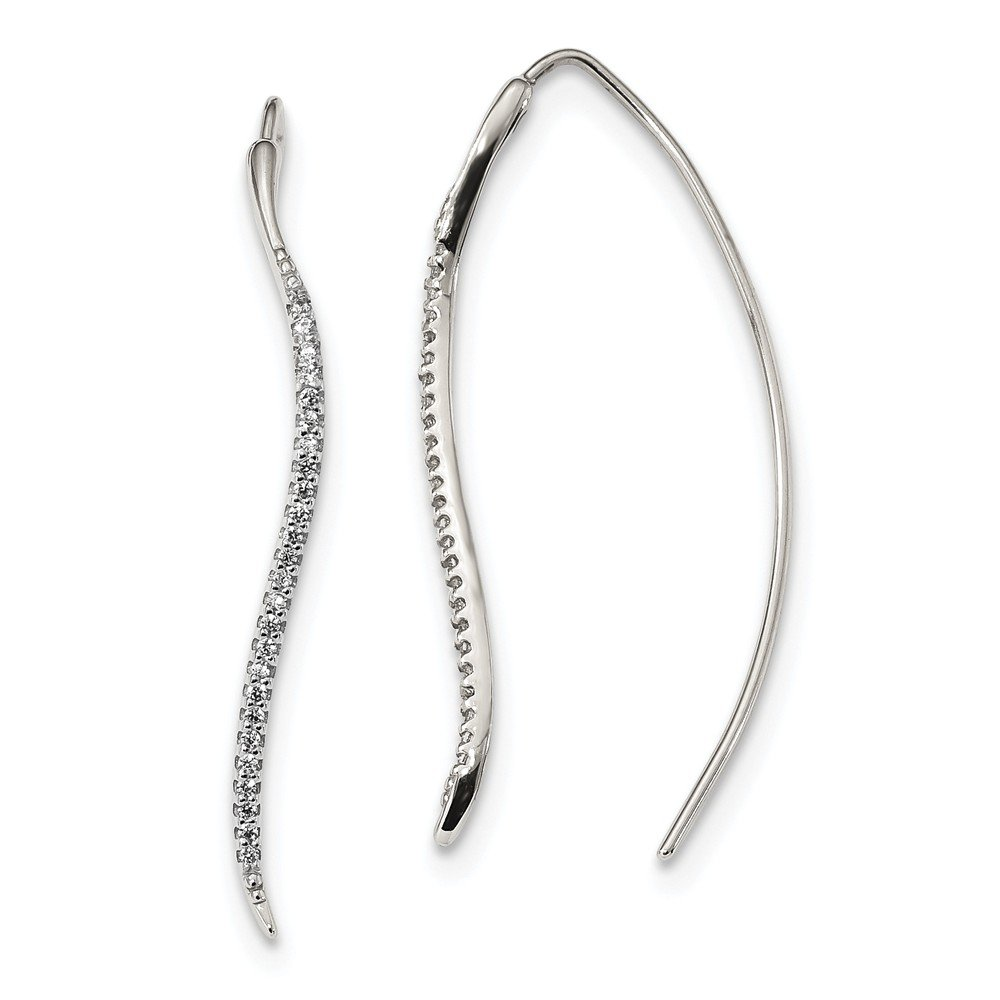 1.57mm Sterling Silver Cubic Zirconia Curved Bar Threader Earrings