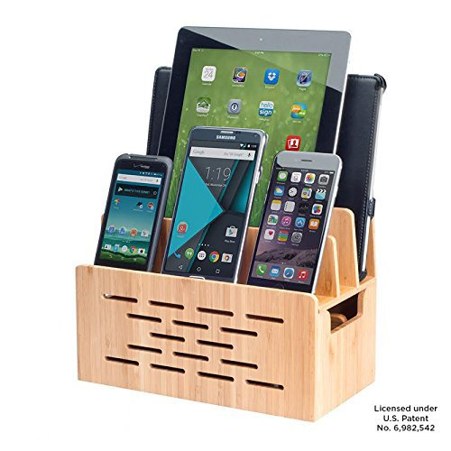 MobileVision Bamboo Charging Station w/Cutout for Bluetooth Portable Wireless Speaker and Docking Stand use w/DKnight MagicBox, Anker Classic & More