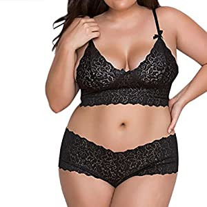 FUNIC Lingerie Set Women Lingerie Corset Lace Flowers Push up Top Bra+Briefs Underwear Set Plus Size (Black, L)