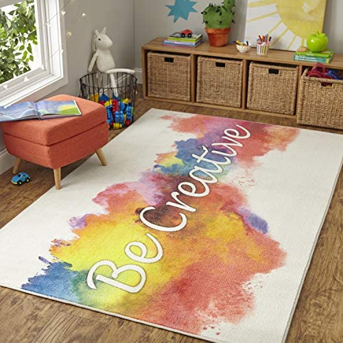 Mohawk Home Prismatic Be Be Creative Rainbow Watercolor Printed Contemporary Kids Area Rug, 8 x10 , Be