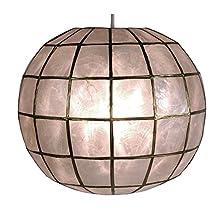 Oriental Furniture Simple Best Quality Unique Overhead Lighting, 11-Inch Capiz Sea Shell Hanging Ceiling Light Fixture Lamp