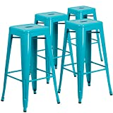 outdoor bar frames - Flash Furniture 4 Pk. 30'' High Backless Crystal Teal-Blue Indoor-Outdoor Barstool