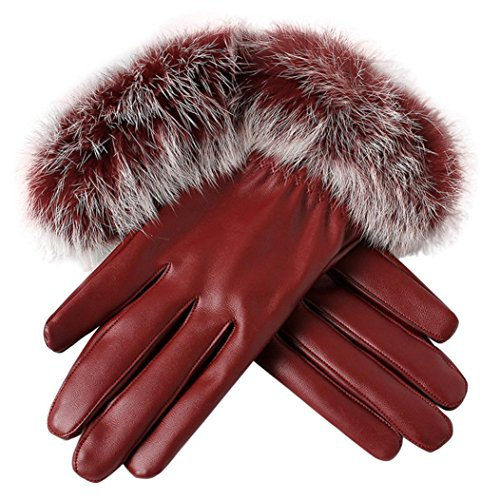 Sumen Women Leather Gloves With Faux Fur Winter Warm Mittens (Red)