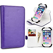 Cooper Cases(TM) Engage C360 HTC One / Dual Sim / Mini / Mini 2 / Remix Smartphone Wallet Case in Purple/White (Universal Compatibility w/ iOS/Android/Windows Devices; Scratch/Water-resistant Leather Cover; Rotating Frame for Rear-camera Access; Integrated Viewing Stand w/ 360 Degree Display; 3 Card Slots; 2 Slip Pockets; Magnetic Cover Lock)