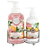 Michel Design Works Foaming Hand Soap and Lotion Caddy Gift Set, Pink Grapefruit
