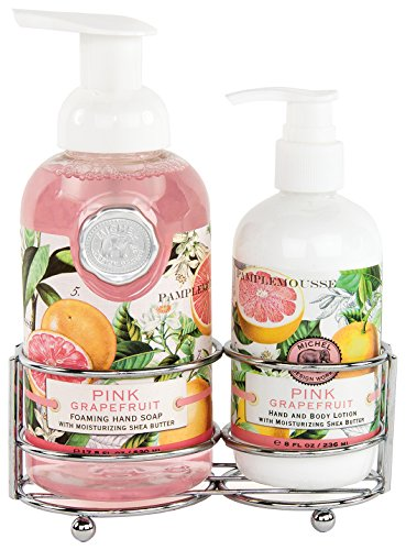 Michel Design Works Foaming Hand Soap and Lotion Caddy Gift Set, Pink Grapefruit - Lotion Caddy Set