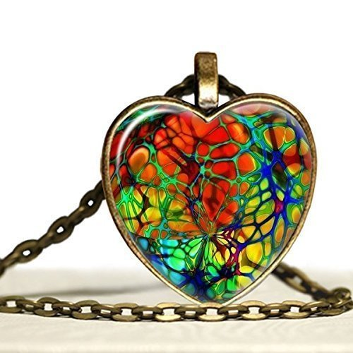 Glass Necklace Red Heart (Aurora Borealis Stained Glass Rainbow Heart Shaped Glass Pendant Necklace)