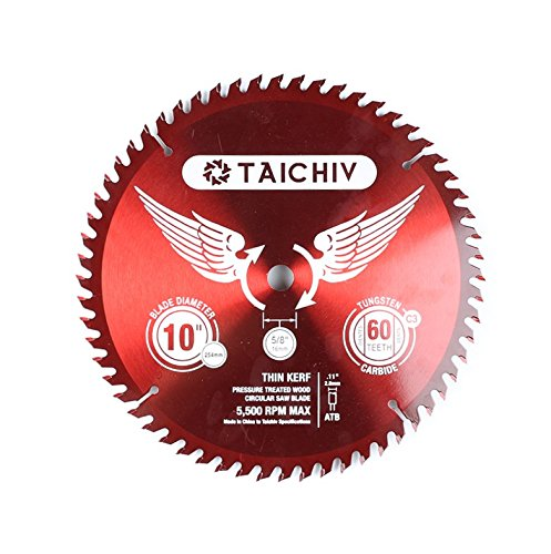 (TAICHIV Series 10-Inch 60 Tooth ATB Carbide Framing and Ultra-coated Saw Blades with 5/8-Inch Circular TCT Miter Table Saw Blades Good for All Purpose Timber and Wood Cutting)