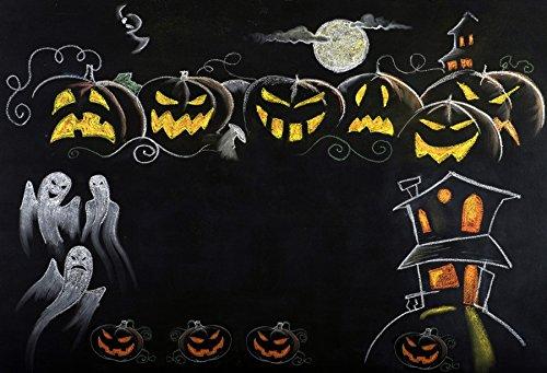 Leowefowa Halloween Student Blackboard Drawing Backdrop 9x6ft Vinyl Photography Backgroud Grimance Pumpkin Lanterns Huanted House Ghost Full Moon Night Backgroud Children Trick Or -