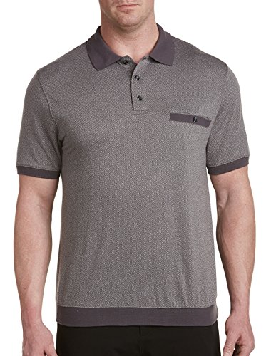 Harbor Bay by DXL Big and Tall Banded-Bottom Diamond-Pattern Polo Grey