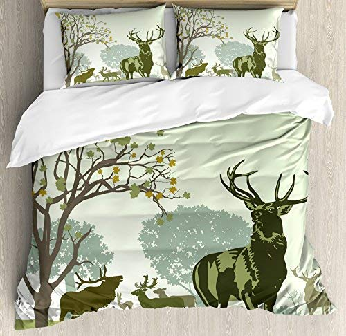 wanxinfu Antlers 寝具3点セット 掛け布団カバーセット 鹿と野生動物 公園 自然 伝統 森 トナカイ 3ピース 掛け布団カバー セット 枕カバー2枚付き フル グリーン B07KTXJR3B グリーン フル