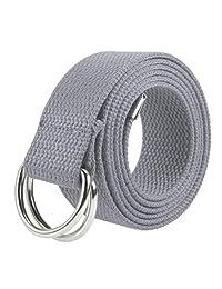 Gelante - Cinturón de lona en D con hebilla plateada, estilo militar, para hombres y mujeres, 1 o 3 piezas