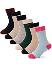 Children Wool Socks For Boy Girl Kid Thick Thermal Warm Cotton Winter Crew Socks 6 Pack