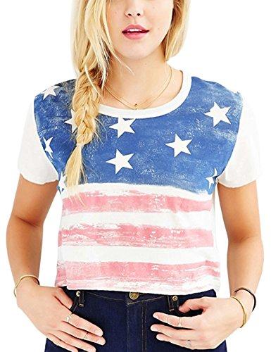 af7f154a39 Perfashion Women's Cropped Tops Shirt USA Flag Print Short Sleeves