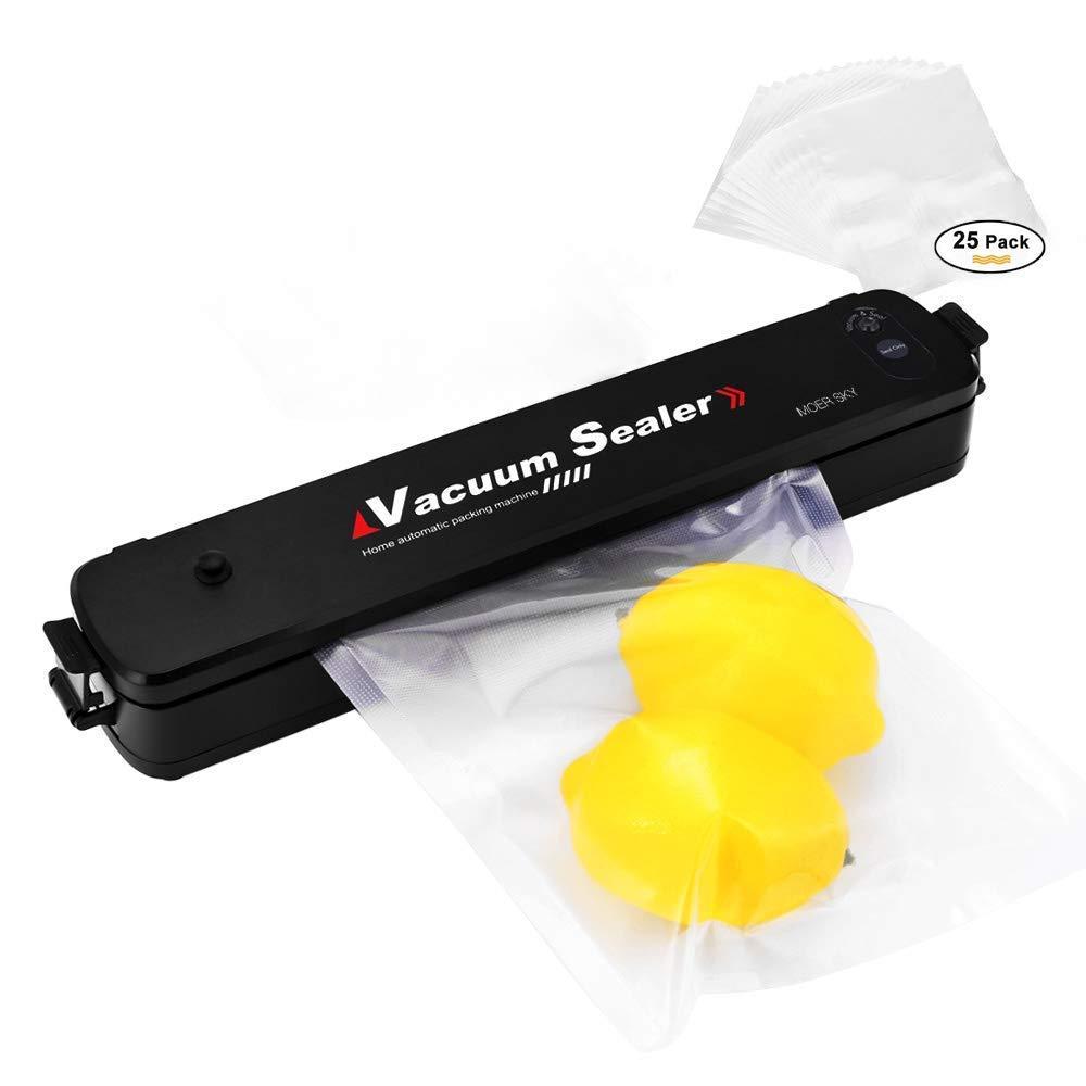 Vacuum Sealer Machine, Moer Sky Automatic Mini Portable Home Vacuum Air Sealing System for Food Preservation/Starter Kit   Sealer Indicator   Dual Capacitance Design + 25pcs Sealer Bags MS-886