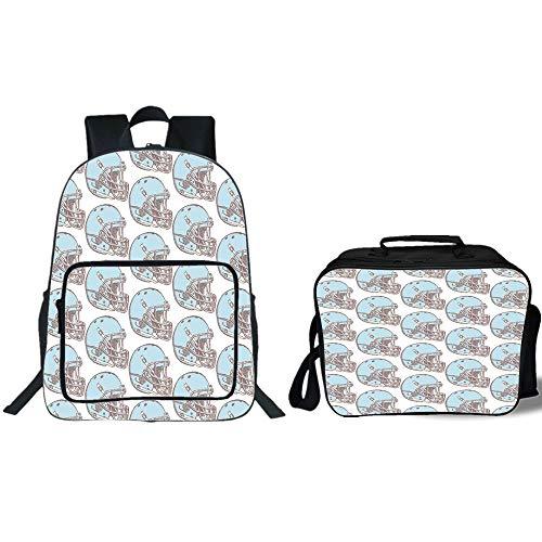 "iPrint 19"" School Backpack & Lunch Bag Bundle,American Football,Sketch Art Style Rugby Helmets Vintage Pattern American Athletics Decorative,Aqua Grey Cream,for Boys Girls"