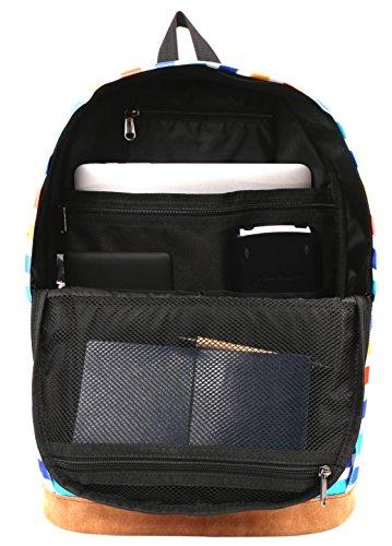 HotStyle 915s Vintage mochila colegio 24L - Impermeable para portatil de 15-inch - Negro D206C, Rayas del arco iris