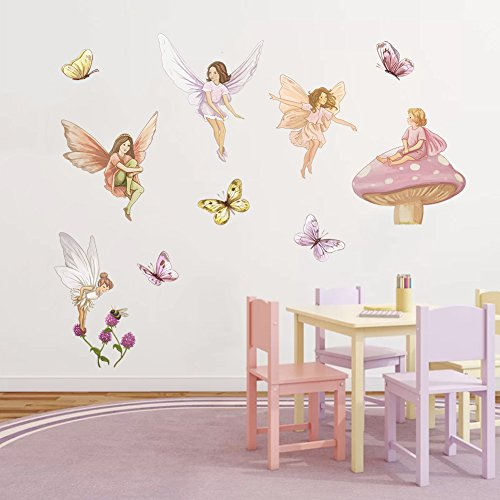 DecalMile Fairies Wall Decals with Wings Butterflies Stickers Removable Wall Art for Girls Room Kids Bedroom Nursery Baby Room
