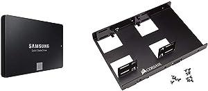 "Samsung 860 EVO 500GB 2.5 Inch SATA III Internal SSD (MZ-76E500B/AM) & Corsair Dual SSD Mounting Bracket 3.5"" CSSD-BRKT2"