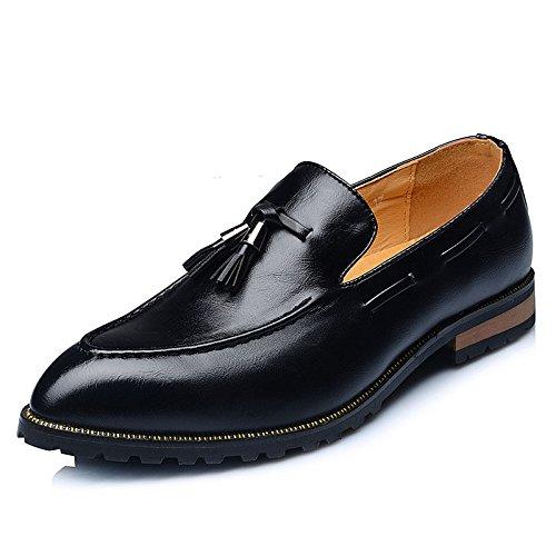 Slip Cómodos del Borla Antideslizante Masculinos Ponibles Negocio Casual Koyi Puntiagudo Juventud Black Y Cuero De Versión On Decorativa Coreana Zapatos Zapatos xx7TnHv