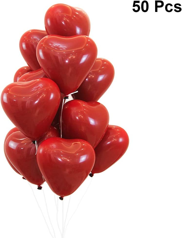 JANOU Red Heart Shape Balloons Double Layer Jewel Red Latex Balloons 10 Inch Birthday Wedding Party Decoration Pack 50pcs