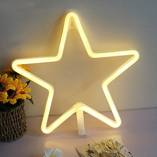 Cheap Lovely Star Shaped Decorative LED Neon Night Light With Warm White Light Operated By Battery/USB for Children's Room Party Christmas Wedding Decoration Wall Decor Art Holiday Gift