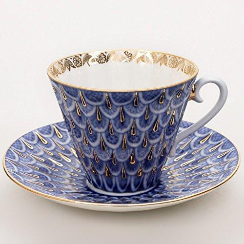 (Imperial / Lomonosov Porcelain Teacup w/ Saucer 'Forget-me-not')