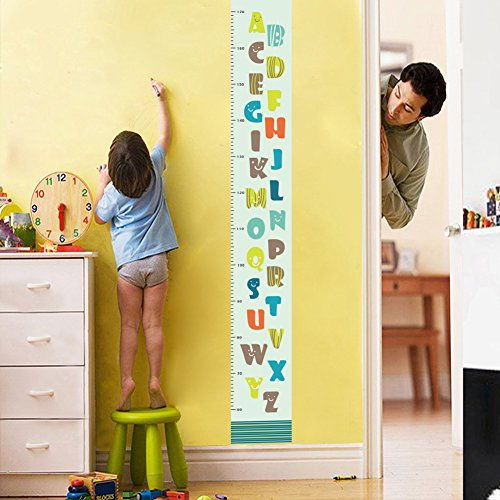 Amaonm Removable DIY PVC Cartoon Letter Multi Color A-Z Puzzle Early Learing Kids Height Measure Ruler Nursery Growth Chart Wall Stickers Murals Home Walls Decor art for Bedroom Nursery Living Room