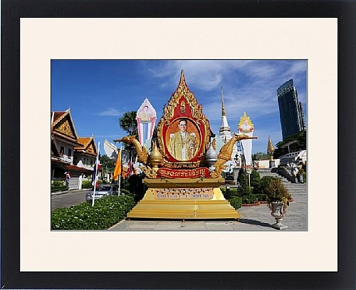 Framed Print of Picture of the Thai King Bhumibol Adulyadej, Rama IX at Wat Yannawa temple by Prints Prints Prints