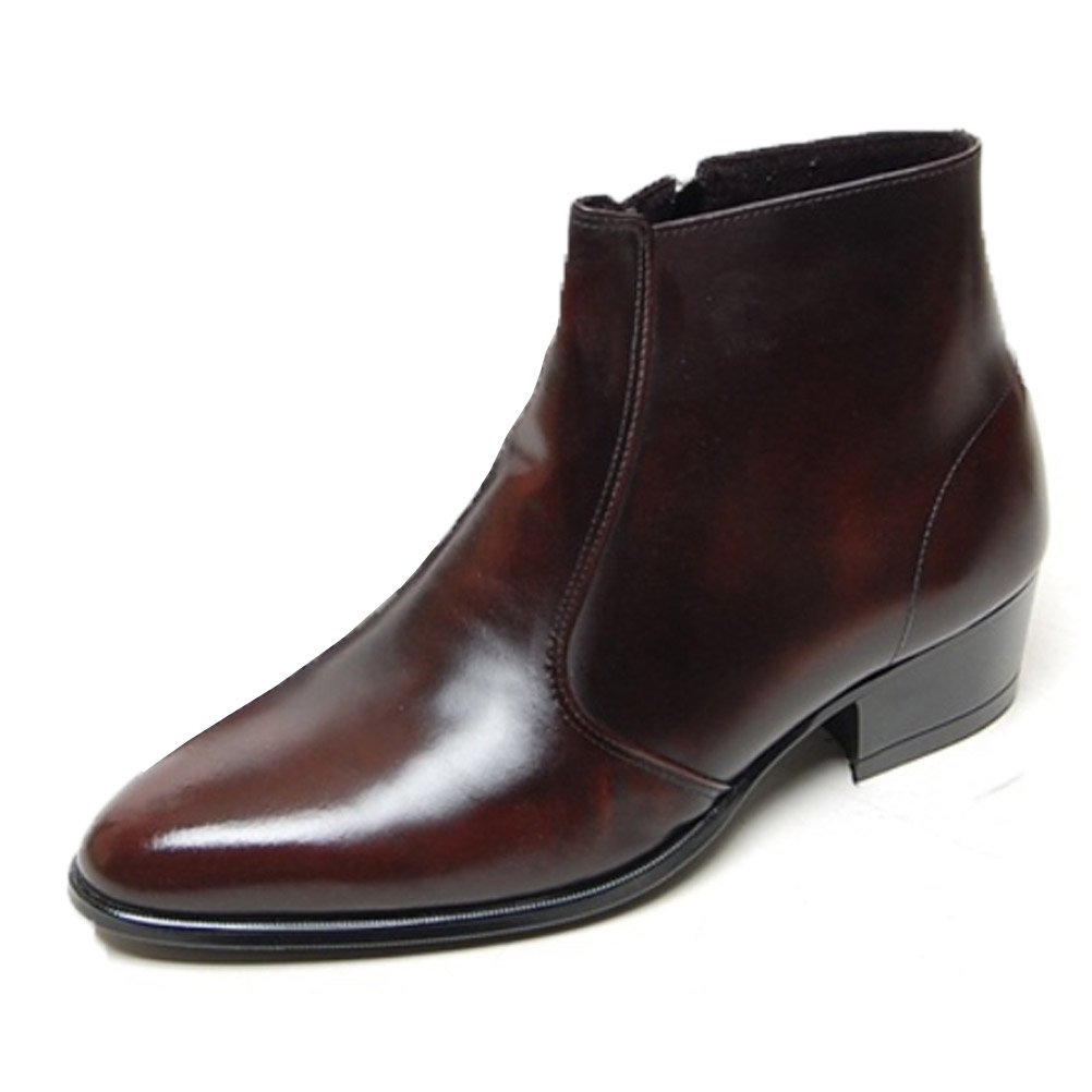 EpicStep Men's Genuine Cow Leather Dress Shoes Formal Casual Zipper Ankle Boots AC1-532592-$P