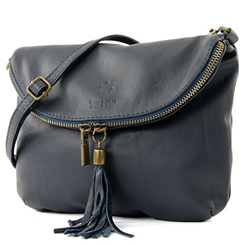 Ital. Leather Bag Clutch Shoulder Bag Underarm Bag Shoulder Bag Girl Small nappa leather T07, Color: Dark (Blue Leather Handbags)