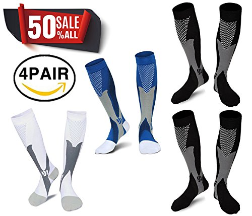 X-CHENG Compression Socks 20-30 mmhg, Best Graduated Athletic Fit Compressions Sock - Ergonomic fit for Men and Women - Fit for Running, Nurses,Maternity Pregnancy & Recovery(4 pairs)