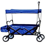 EasyGoProducts EGP-WGN-001-BLU EasyGo Sports Heavy Duty Folding All Terrain Utility Garden - Beach - Camping Red Wagon Cart with Collapsible Sturdy Steel Frame, Blue, Blue
