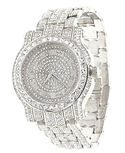 Techno Pave Totally Iced Out Pave Silver Tone Hip Hop Men's Bling Bing - Tone Out Watch Iced
