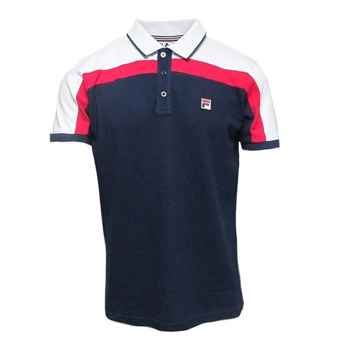 c7a59172 Fila White Line Mens Cut & Sew Spencer Slim Fit Polo Shirt Navy 2XL ...