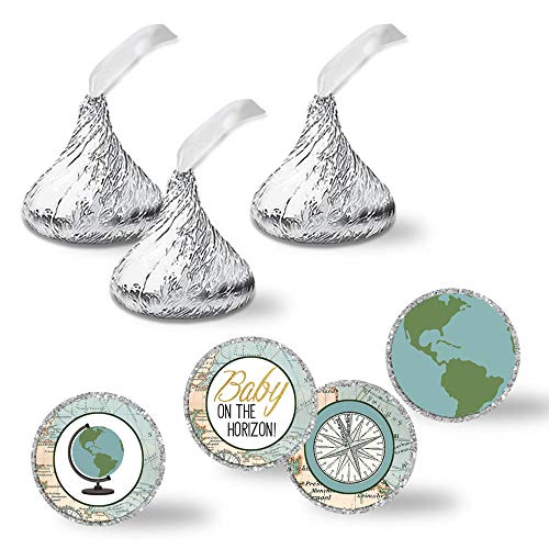"""Adventure Awaits World Traveler Gender Neutral Baby Shower Kiss Sticker Labels, 240 Party Circle Sticker sized 0.75"""" for Chocolate Drop Kisses by AmandaCreation, Great for Party Favors, Envelope Seals & Goodie Bags ()"""