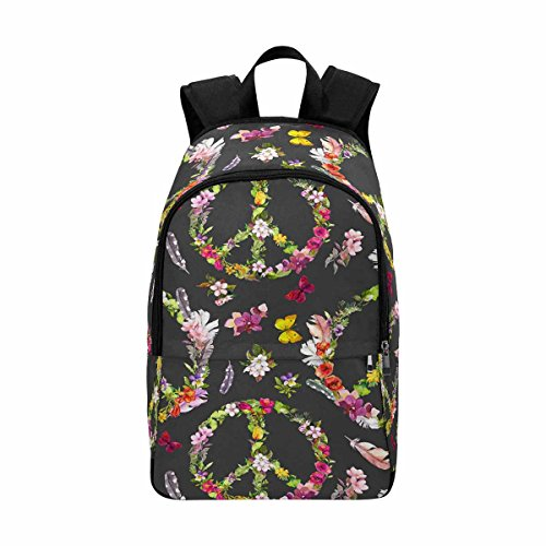 Floral Peace Sign Butterfly Custom Casual Backpack School Bag Travel Daypack