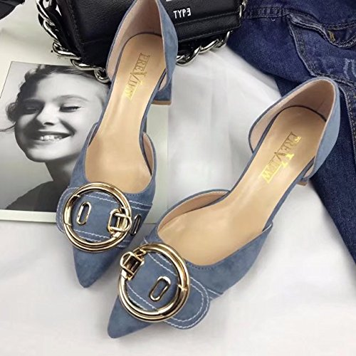 avec Wild Satin Chaussures bleu plat Chaussures yalanshop Shallow 39 Mouth simples Femmes ce SnZxwHaY