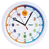 Amonev Time Teacher clock Children Wall Clock, Easy to Read clock with Silent movement. Teach children how to read an analogue clock with this, 29cm Diameter