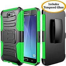 Galaxy J3 Emerge, Galaxy J3 2017, J3 Prime, J3 Mission, J3 Eclipse, Express Prime 2, Amp Prime 2, Sol 2, Luna Pro, JATEN Hybrid Case Kickstand Belt Clip + Tempered Glass (Green/Black)