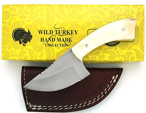 Wild Turkey Handmade Real Camel Bone Handle Fixed Blade Skinning Knife w/ Leather Sheath