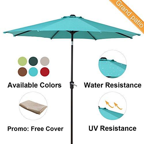 Grand patio 9 FT Enhanced Aluminum Patio Umbrella, UV Protectived Outdoor Umbrella with Auto Crank and Push Button Tilt, Blue