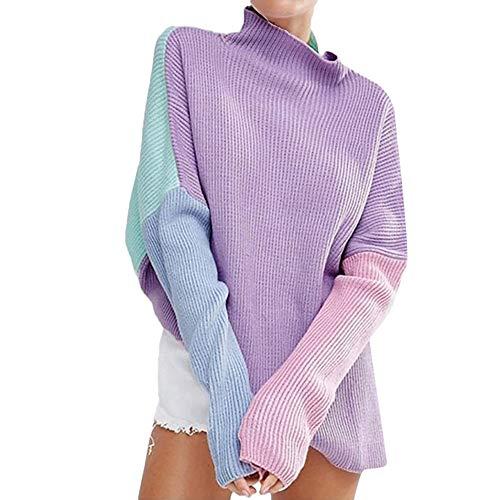 Women's Irregular Hem Patchwork Knitted Sweater Round Neck Loose Pullover Pullover Sweatshirt (Pink, Free) by Sinzelimin Women's Pink,