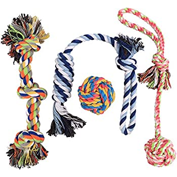 Dog Rope Toys for Small to Medium Dogs, Overfly Dog Puppy Teething Toy Chew Rope Tug (Set of 4)