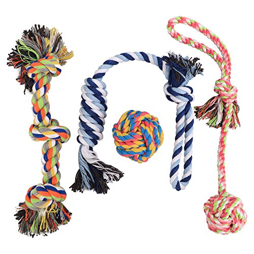 Dog Rope Toys for Small to Medium Dogs, Set of 4, Overfly Dog Puppy Teething Toy Chew Rope Tug