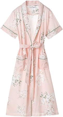 DWLXSH Batas Estilo Kimono para Mujeres, Camisones y Bata de baño para Mujer Pijamas de algodón