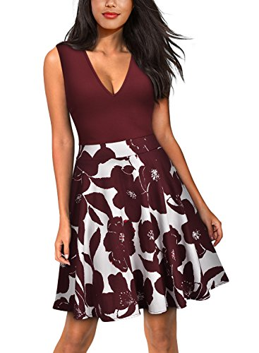 Miusol Women's Casual Flare Floral Contrast Sleeveless Party Mini Dress (Medium, Wine red)