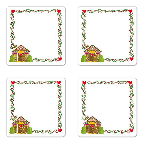 Ambesonne Kids Christmas Coaster Set of Four, Frame Featurin